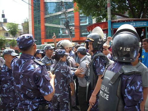 Police and Dalit protestors in Kathmandu