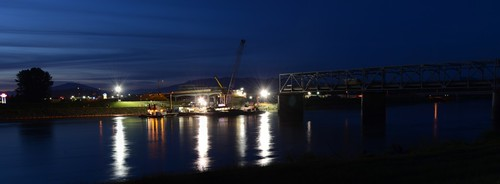 Collapsed Skagit River Bridge at Night #1