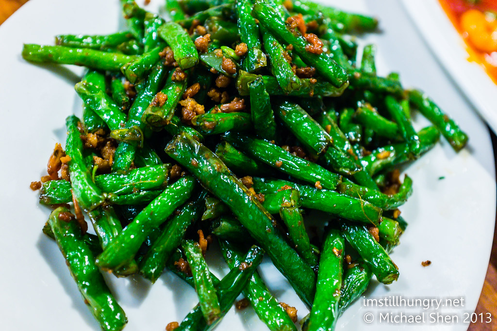 Stir fried green beans w/pork mince Taste of Shanghai