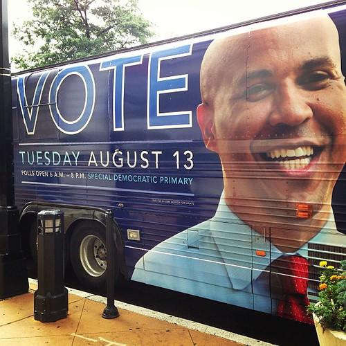 Cory Booker campaign bus