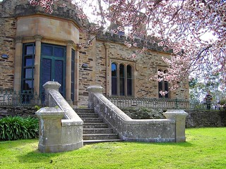 Gawler. Rosedale. Holland House in the Barosssa Valley with almond blossom. In Gothic style with tower and turrets the terrace overlooks the  North Para River.  South Australia