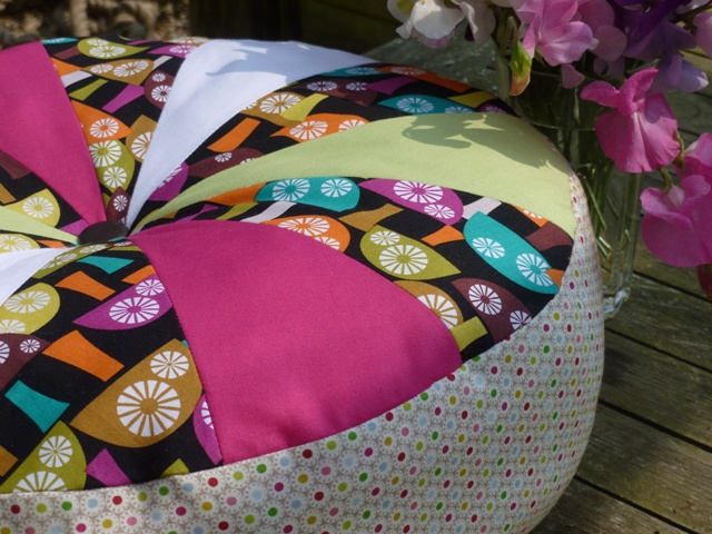 Sprocket pillow from tutorial at Cluck Cluck Sew