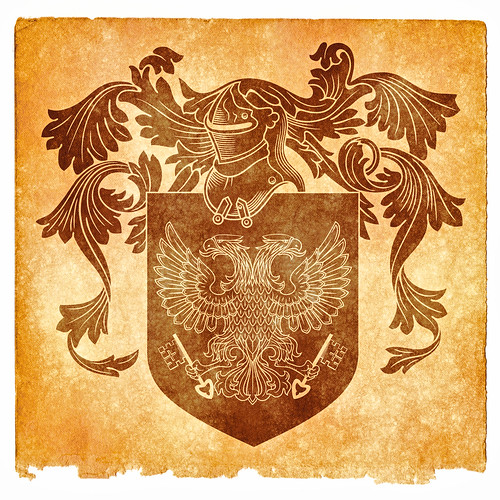 Double-Headed Eagle Grunge Emblem - Sepia
