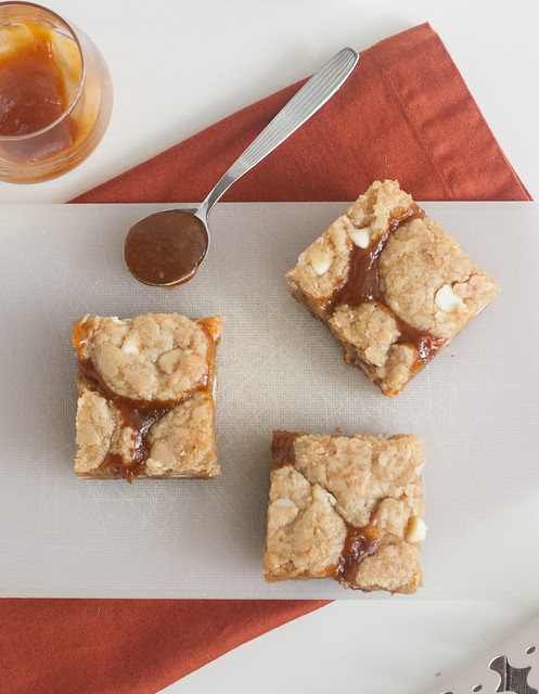 Salted Pumpkin Caramel White Chocolate Cookie Bars