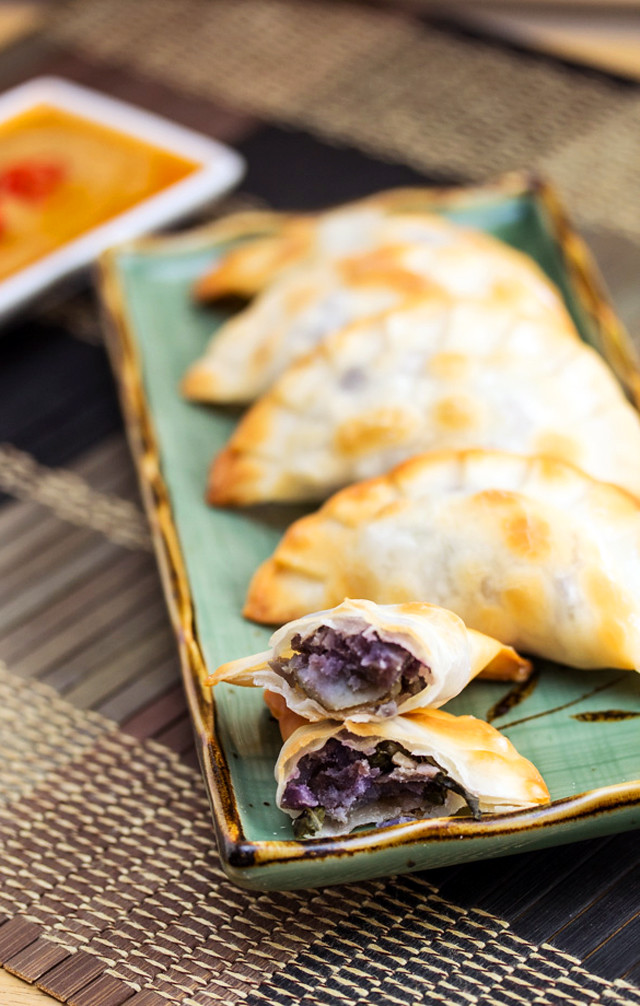 Baked Purple Yam and Sweet Potato Dumplings with Peanut Sauce 3