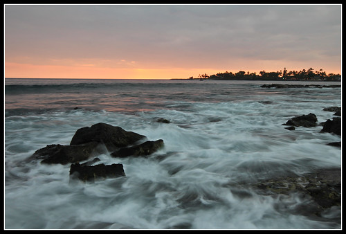 sunset sea water landscape island hawaii big shore kona