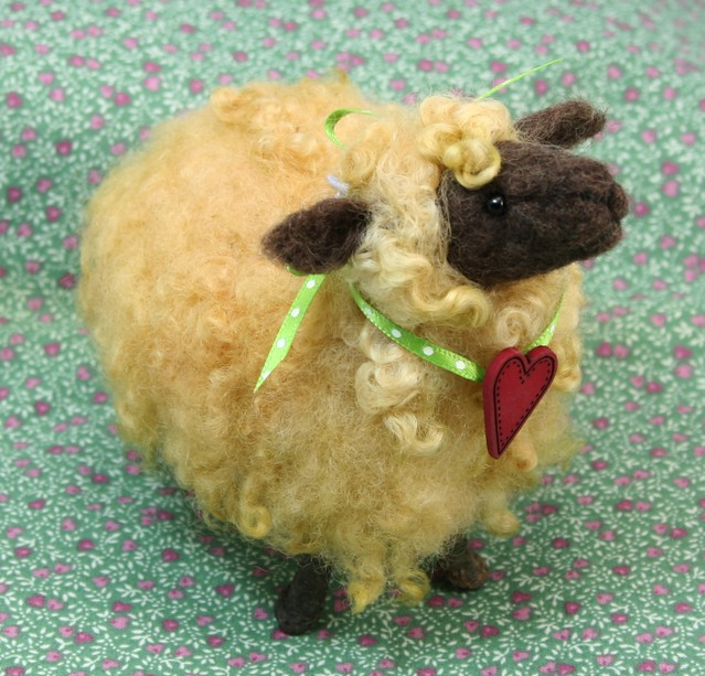 Twig Sheep with Heart - needle felted