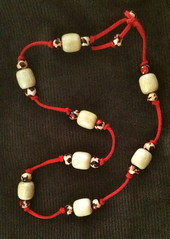 Necklace with Wooden Beads on Red Microsuede Cord by randubnick