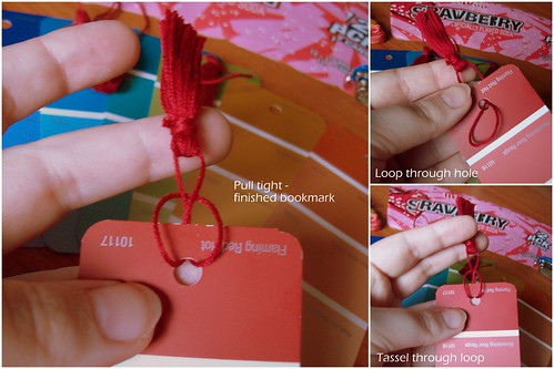 Adding tassel to bookmark