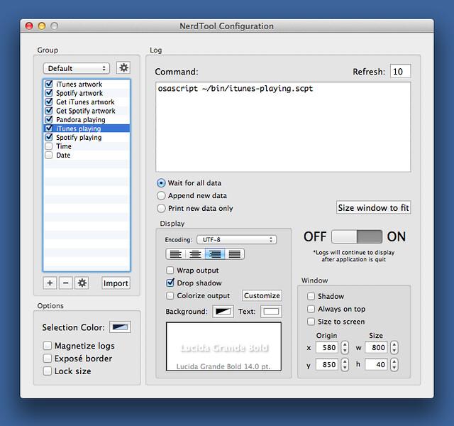 NerdTool iTunes playing script