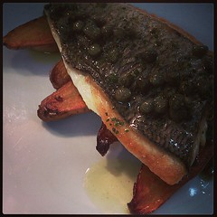 Bream, sauteed pink fir potatoes, caper & chive noisette