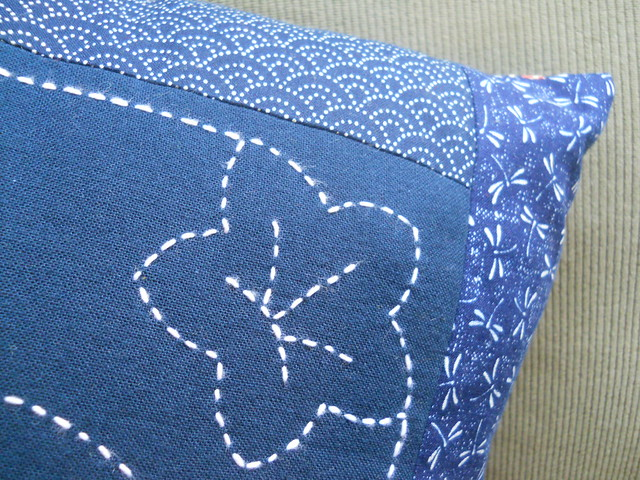 Sashiko pillow corner