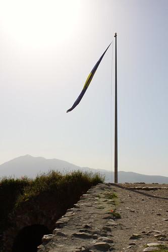 houses landscape cityscape view prizren kosovo flagpole fortress kaljaja