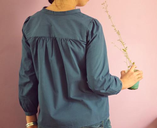 Projet couture : haut à plis bleu