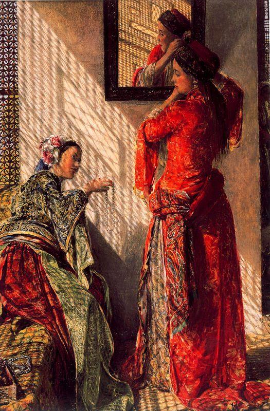 Conversación privada en el harén. Frederick Lewis. Óleo sobre tabla, 1873