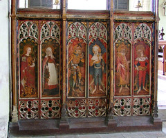 screen (north): St Apollonia, St Sitha, Powers, Virtues, Dominations, Seraphim (15th Century)
