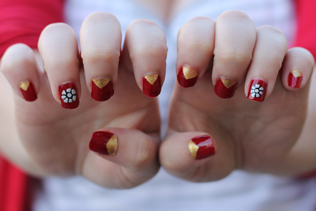 blog wanderlust whimsy megan julep iron man nails nail polish nail art nail varnish red gold silver tony stark