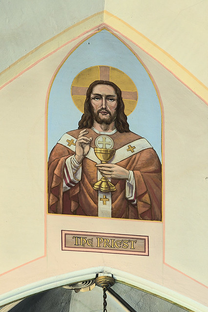 Sacred Heart Roman Catholic Church (Saint Katharine Drexel Parish), in Springfield, Illinois, USA - painting of Christ the Priest