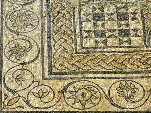 Closeup of Roman mosaic floor discovered in Orange, France 1st century BCE-1st century CE