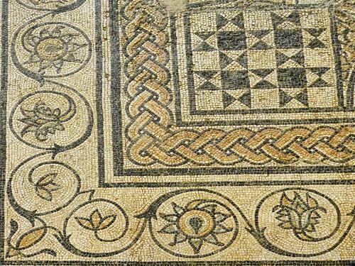 Closeup of Roman mosaic floor discovered in Orange, France 1st century BCE-1st century CE
