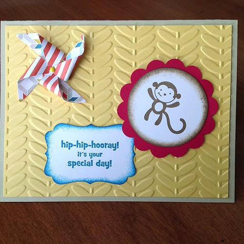 Curious George theme birthday card #stampinup