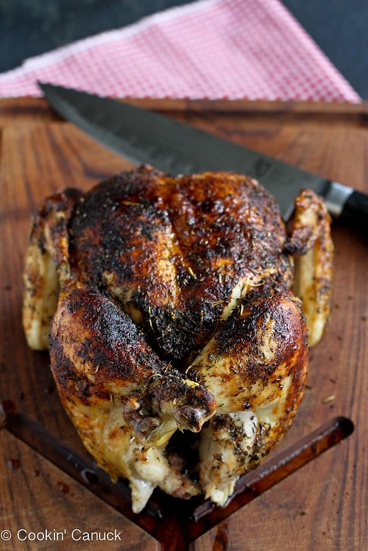 Roasted Chicken Recipe with Deep Onion-Garlic Gravy...195 calories and 5 Weight Watcher PP | cookincanuck.com #gluten-free #dinner