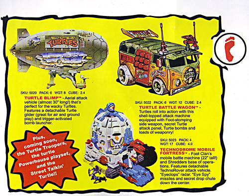 TEENAGE MUTANT NINJA TURTLES :: 'HEROES IN A HALF SHELL'  PLAYMATES TOYS 2009 NYCC / TMNT 25 RETRO PRINT ( 1987 Repro Sales Flyer } iii // Vehicles isolated (( 2009 ))