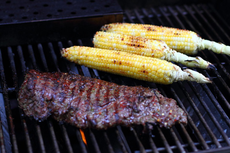 Sunday Dinner: Grilled Skirt Steak with Chimichurri, Grilled Corn, and Tomato and Avocado Salad