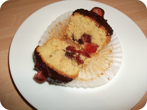 Cherry Almond Cupcake Halved