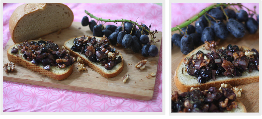 ein kochbuch auf reisen: crostini mit trauben & nüssen.