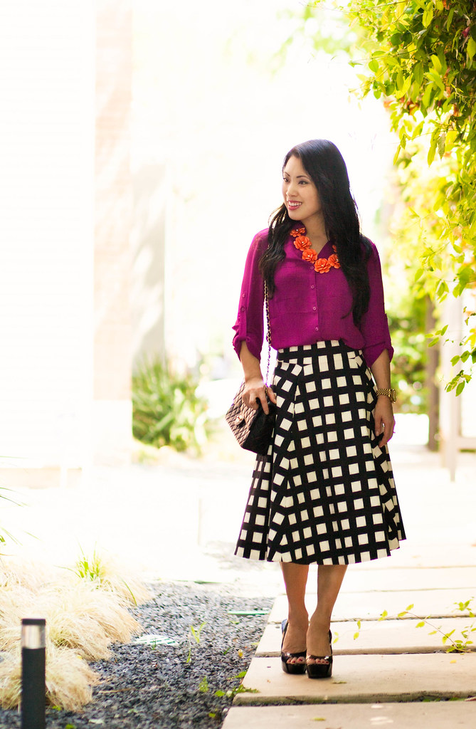 cute & little blog | petite fashion | radiant orchid shirt, kate spade windowpane checked skirt, orange flower bib statement necklace | spring outfit