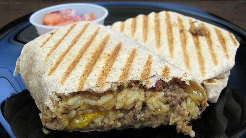 Cheddar beef burrito