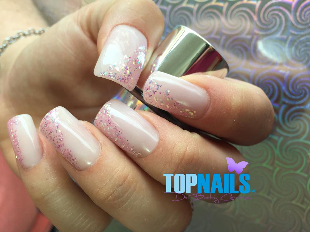 Uñas Acrílicas Francesas con decorado en Gel Glitter (Acrylic Nails ...
