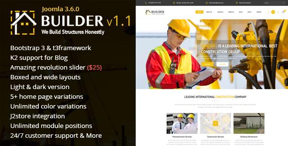 Builder v1.1 – Building & Construction Joomla Template