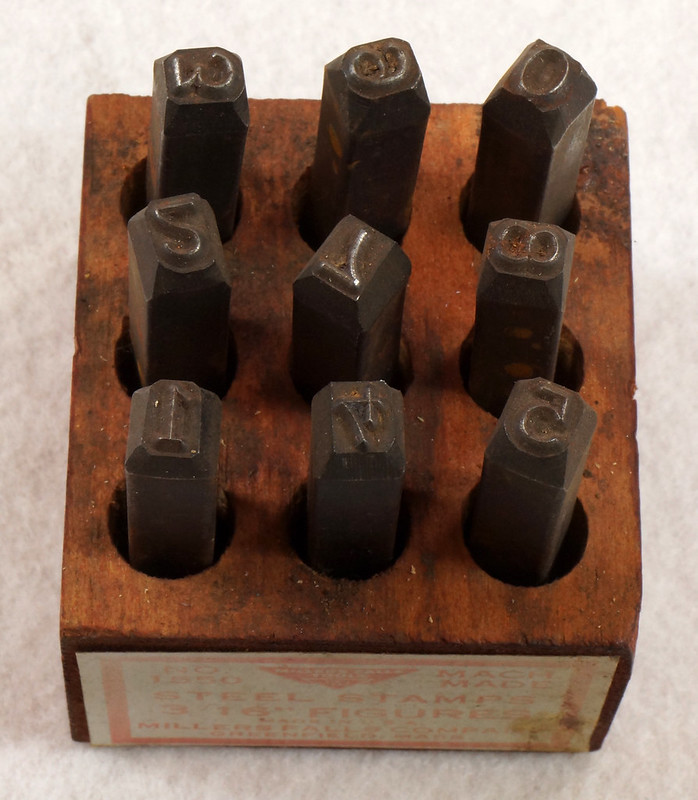 RD14695 Millers Falls 3-16th inch Figures Steel Number Punch Stamps Set No 1550 USA DSC06505