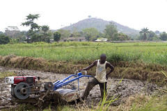 Emmanuel Kargbo, a 26-year-old farmer, pushes a motorised soil tiller recently given to his farming cooperative. Before he was trained to use it, it would take him more than twice as long to do it by hand. Credit: Damon Van der Linde/IPS