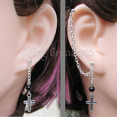 Black and Silver Cross Cartilage Chain Earrings