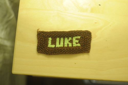 Knitted nametag