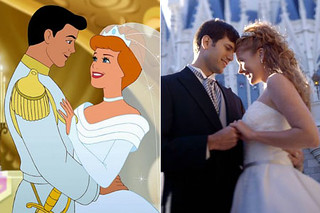 A still from the Disney movie Cinderella next to a photo of a couple in wedding attire mirroring the image