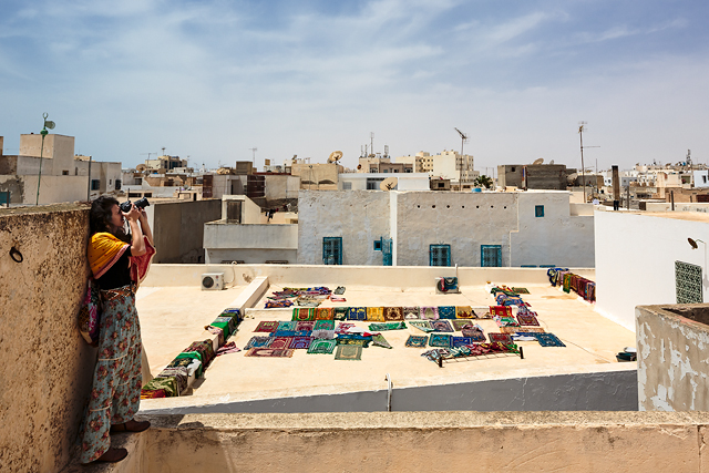 Carpets drying on Sfax medina rooftop