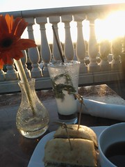 Kicking back Silicon Valley style, dinner, sunset, virgin Mohito lime juice without alcohol or sugar & fresh mint leaves, Cuban steak slider, flower, rooftop balustrade, Cielo, Hotel Valencia, Santana Row, San Jose, California, USA