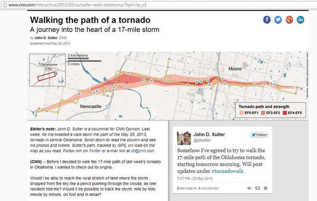 Walking the path of a tornado