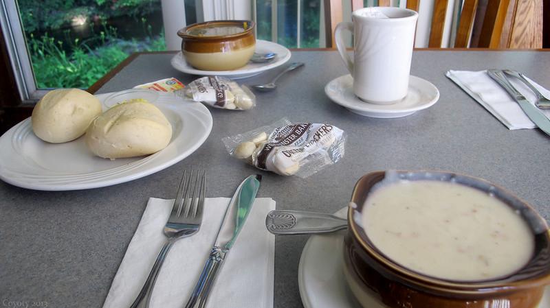 Clam chowder, hot & sour pork soup, rolls, and tea