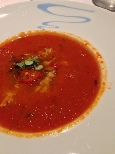 Tuscany-style Tomato Soup with King Crab & Basil Foam - LaBrezza
