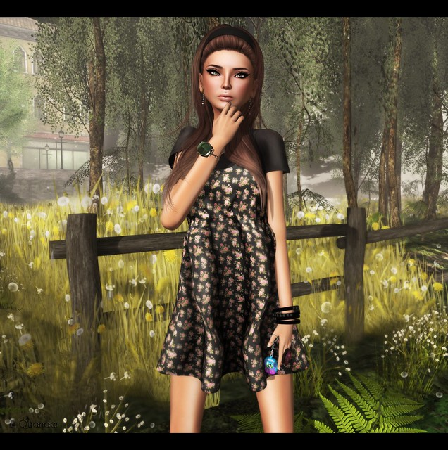 Last Day For June C88 feat -tb- Spaghetti Strap Dress  - Black Floral by Julliette Westerburg - Close