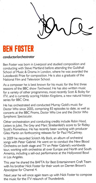 Doctor Who Proms 2013 - Ben Foster Signed Programme