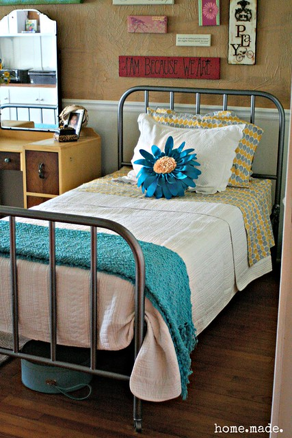 home.made. Turquoise Grey and Yellow Bedroom