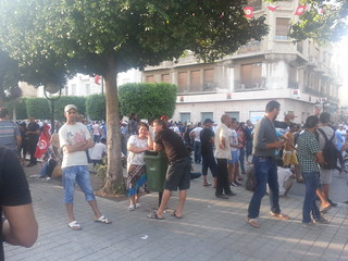 Protesters in downtown Tunis, late afternoon, July 25, 2013. Photo credit: Salma Bouzid, Tunisia Live