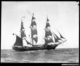 Three-masted ship JOSEPH CONRAD leaving Sydney Harbour