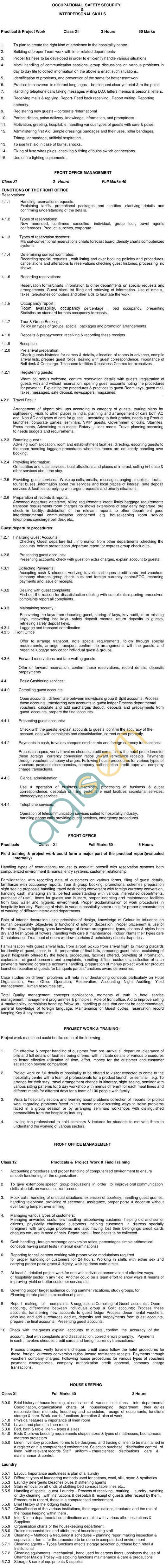 ICSCE CVE-12 Hospitality Management Syllabus 2014